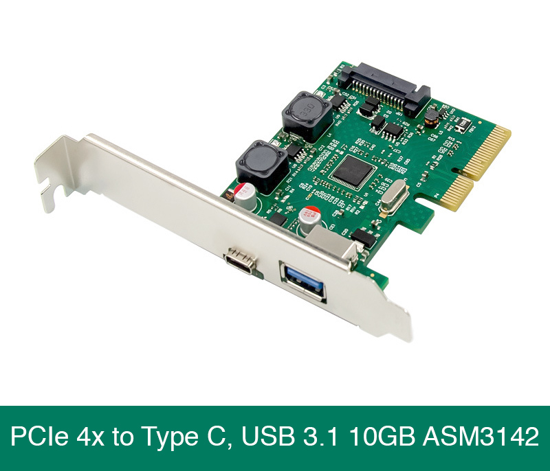 Card mở rộng PCIe 4X to USB 3.1, Type C 10GB Chip ASM3142