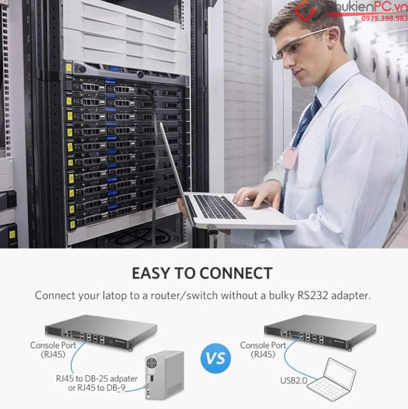 Dây cáp Console USB-C sang RJ45 dài 1.5M Ugreen 80186