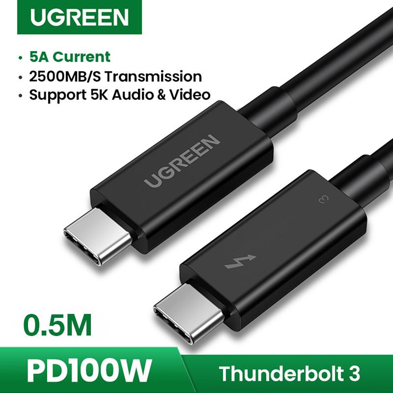 Cáp Thunderbolt 3 0.5M 100W 5K 40Gb Ugreen 80324