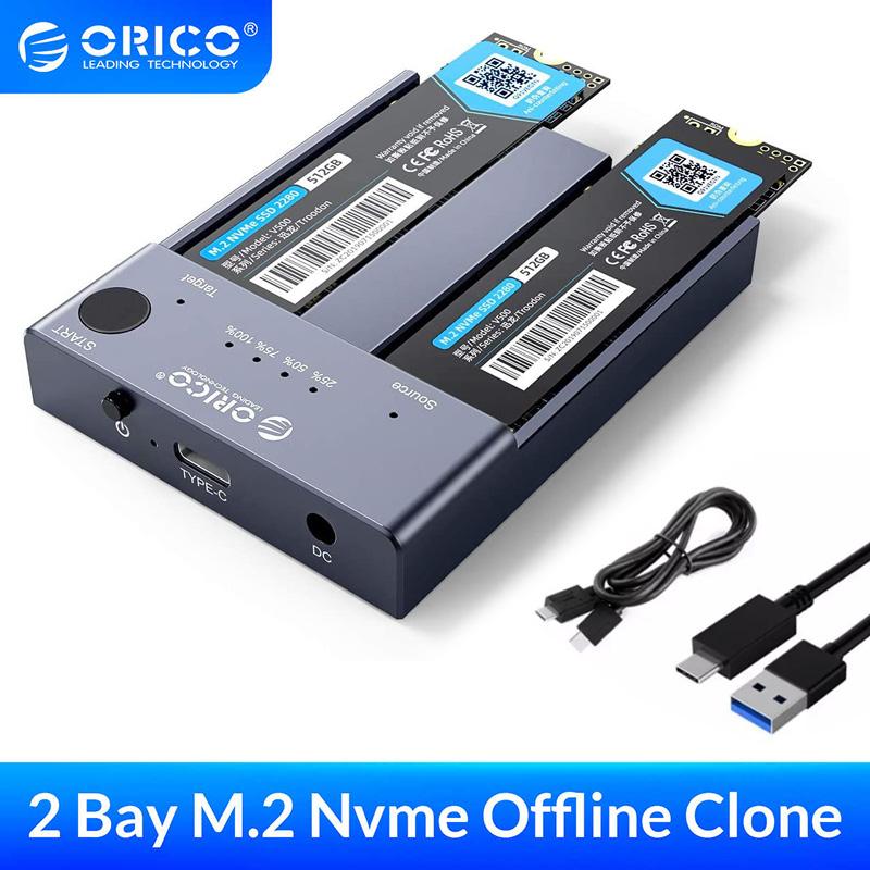 Dock cắm 2 SSD M.2 NVMe 10GB ORICO M2P2-C3-C nhân bản sao chép 2 SSD M.2