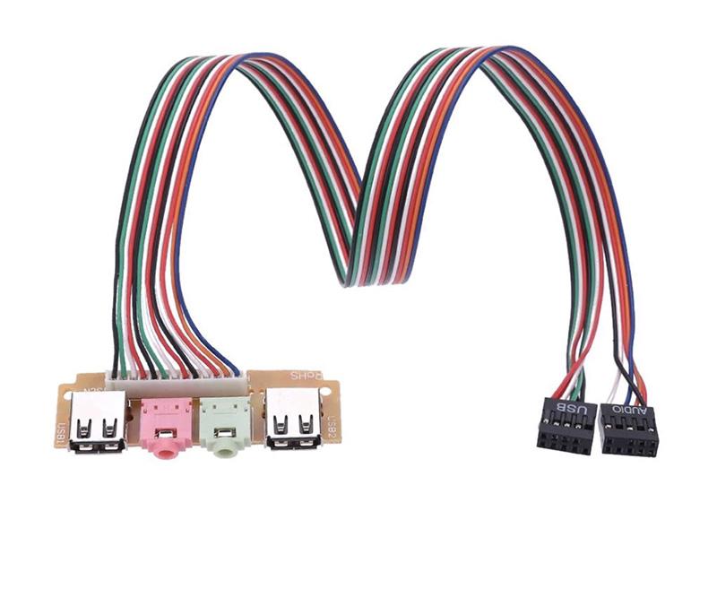 Cáp chuyển 9Pin Audio USB Header ra Mic Loa 2 cổng USB 2.0