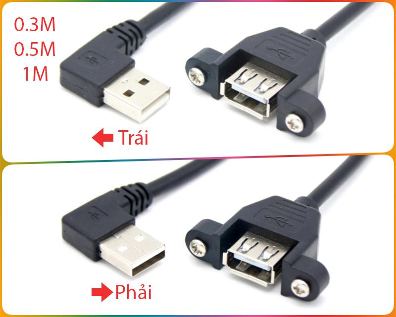Cáp nối dài USB bắt vít bẻ góc 0.3M 0.5M 1M