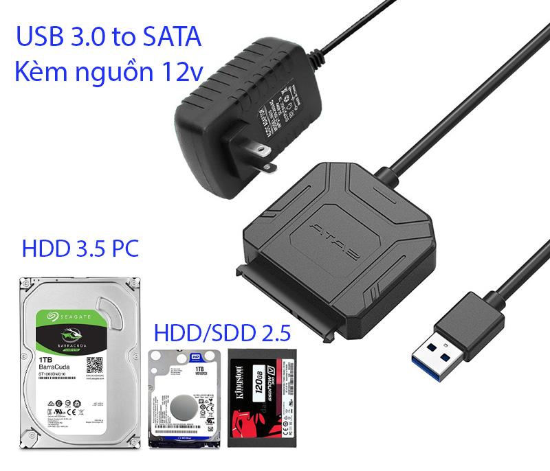 Cáp ổ cứng SSD HDD SATA sang USB 3.0 có nguồn 12V đi kèm