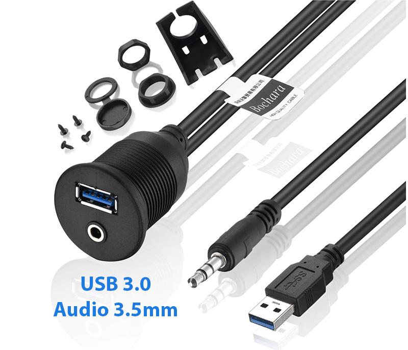 Cáp nối dài USB 3.0 Audio 3.5mm gắn thành máy, chống nước
