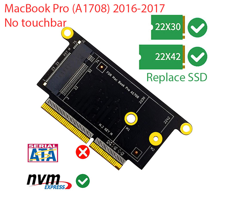 Adapter M.2 NVMe to SSD Macbook Pro 2016-2017 A1708