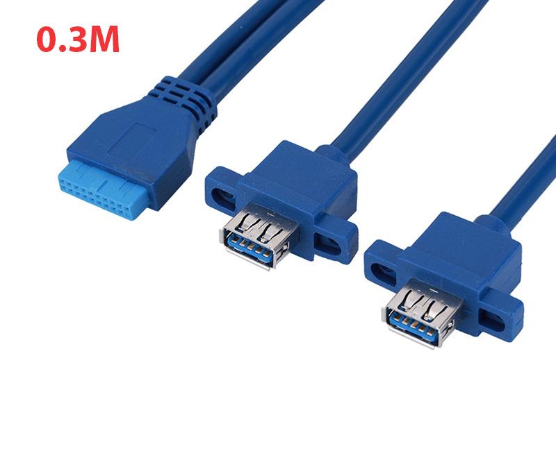 Cáp 20Pin to 2 USB 3.0 chân cái bắt vít 0.3M