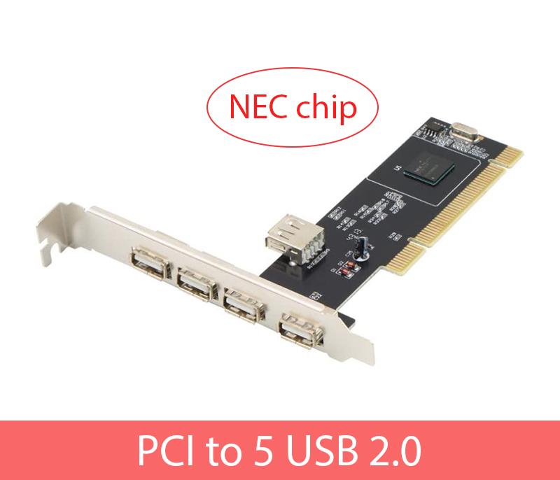 Card mở rộng PCI sang 5 USB 2.0 NEC chip