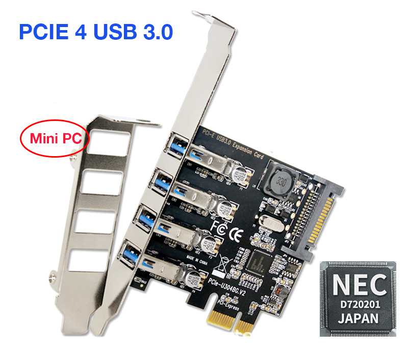 Card PCI-E to 4 USB 3.0 Chipset NEC720201 cho Mini PC