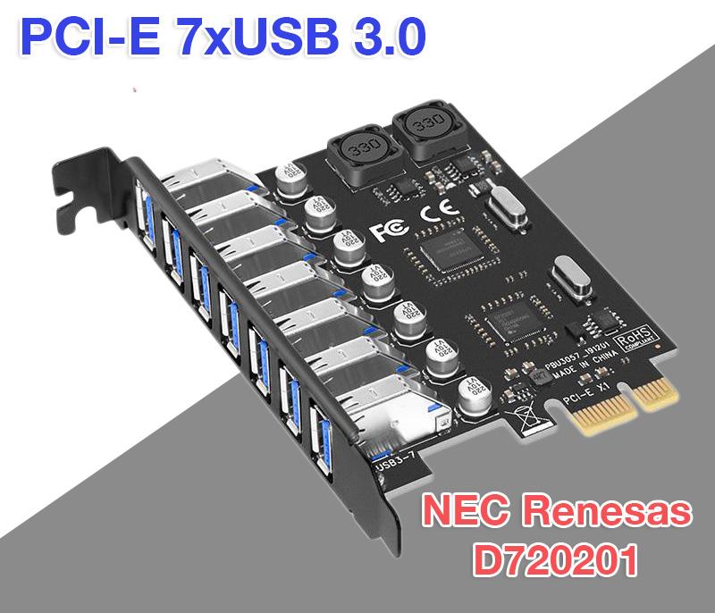 Card chuyển đổi PCI-E to 7 USB 3.0 Chipset NEC720201
