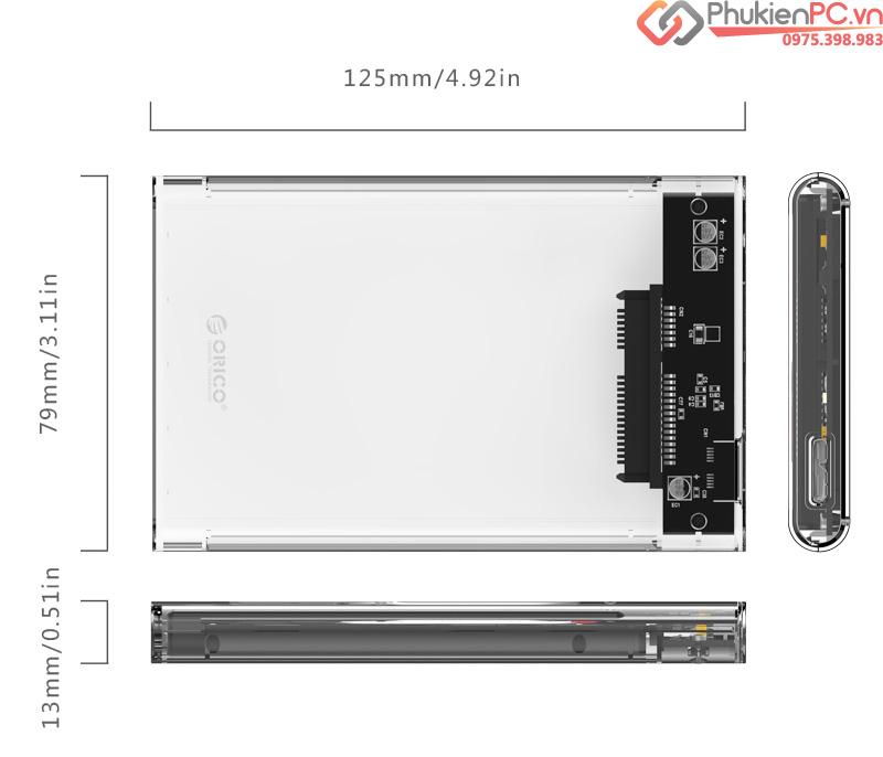 Box ổ cứng HDD SSD trong suốt Orico 2139U3
