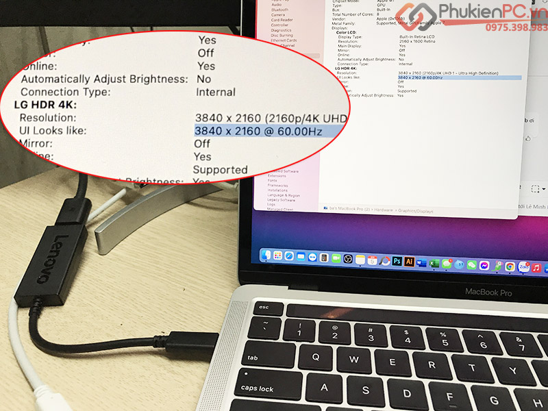 Dây cáp Displayport 1.2 4K60hz dài 1.8M