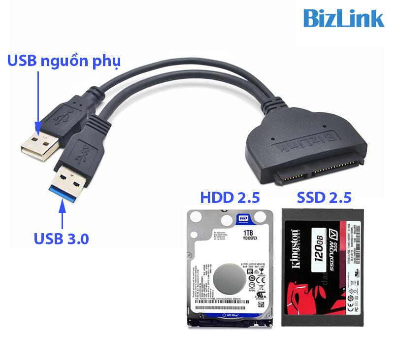 Dây USB 3.0 sang SATA HDD SSD 2.5 inch hỗ trợ nguồn phụ Bizlink