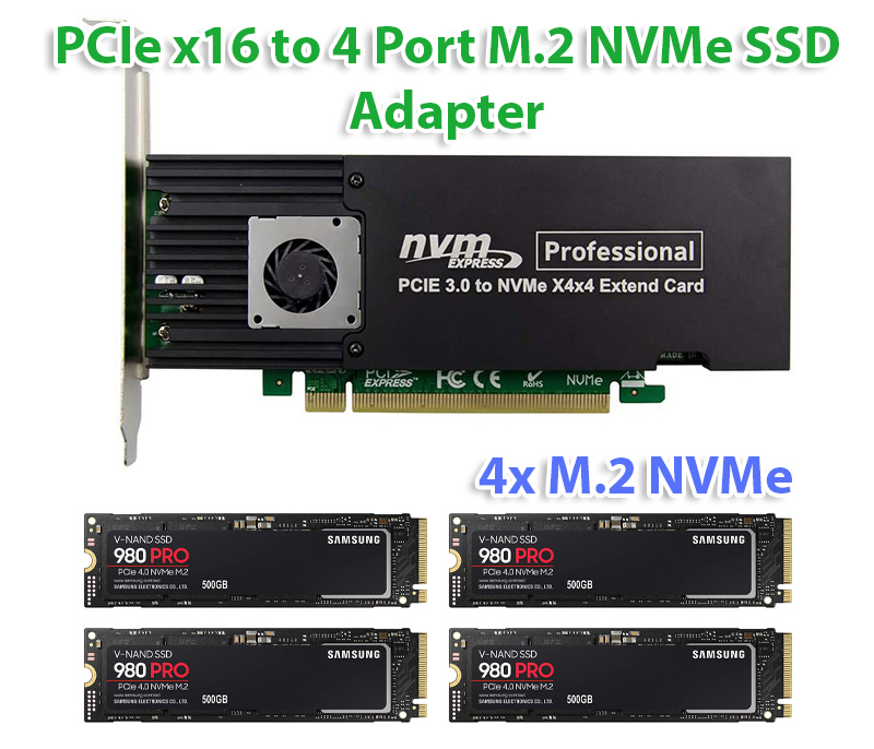Card PCIe 3.0 X16 to 4 Port M.2 NVMe SSD