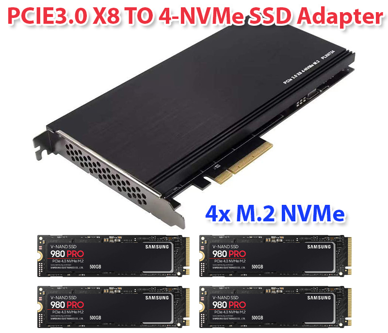 PCIe 3.0 X8 to 4 Port M.2 NVMe SSD Adapter Expansion Card