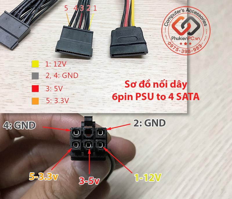 Dây nguồn Modular 6Pin sang 4 SATA cấp nguồn HDD, SSD