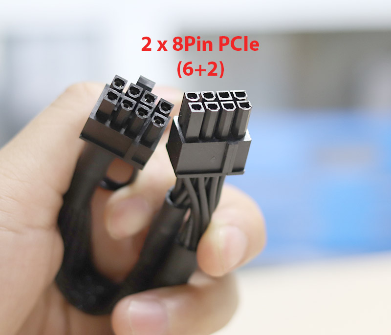 Cáp nguồn 8Pin Modular ra 2 đầu 8Pin (6+2) VGA PCI-E bọc lưới