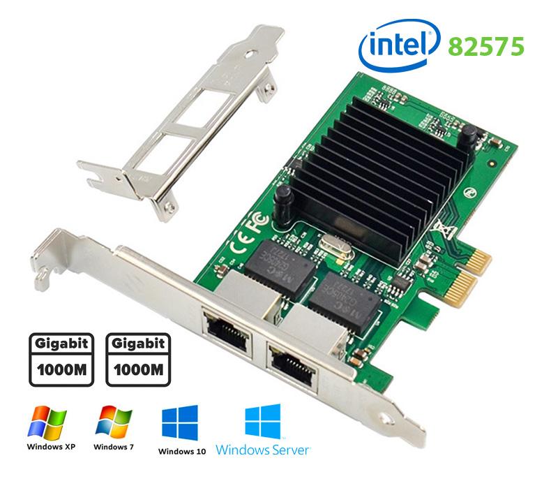 Card mạng PCI-e Gigabit Dual 2 RJ45 Port NIC 10/100/1000Mbps Server Intel 82575