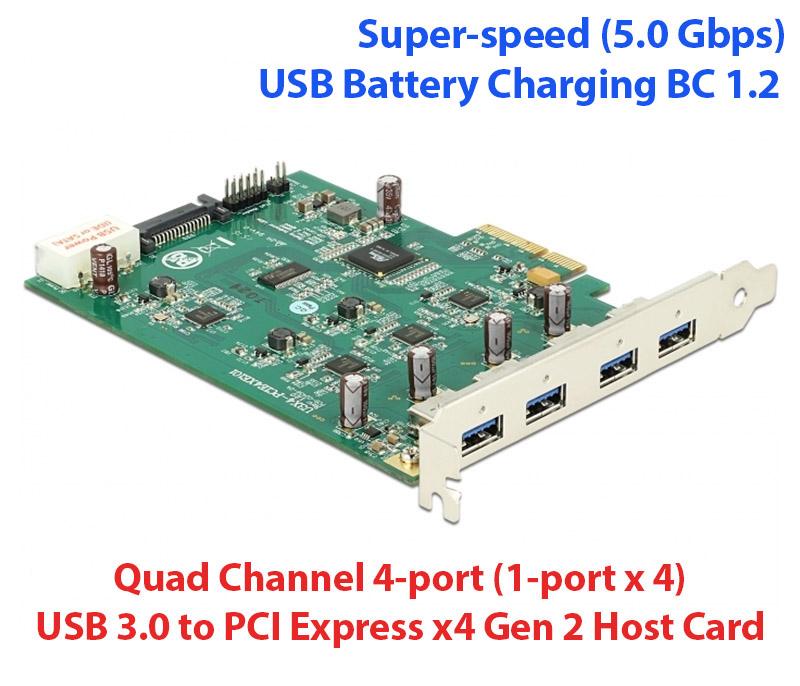 Card PCI-E 4x GEN2 ra 4 USB 3.0 5Gb chip Nec D720202