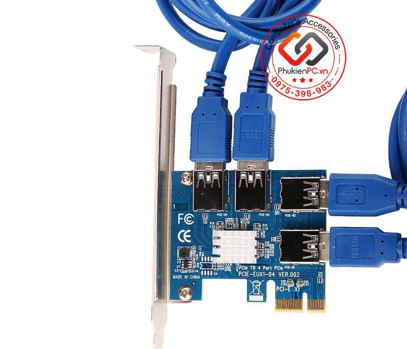 Card chia PCIe 1x to 4 PCIe riser USB 3.0