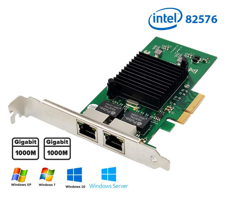 Card mạng PCI-e 4x Gigabit Dual 2 RJ45 Port NIC 10/100/1000Mbps Server Intel 82576