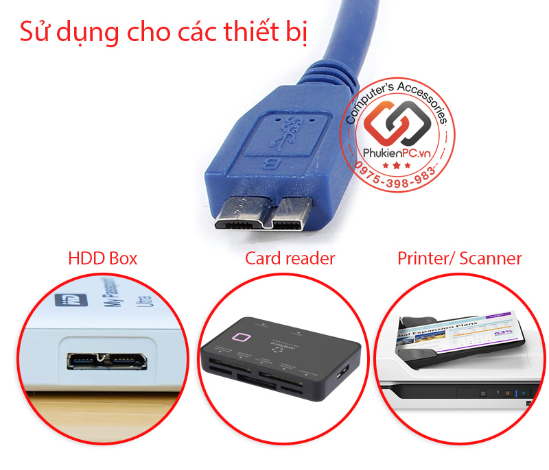 Dây cáp USB 3.0 AM-Micro BM 0.3M 0.5M 1M 2M 3M 5M