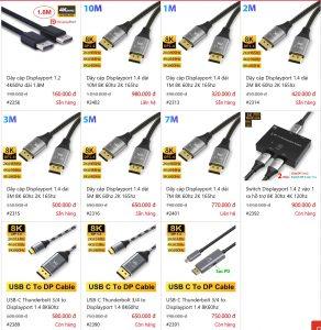 Nơi bán cáp Displayport 1.4 8K 60hz 4K 144hz 165hz dài 1M 2M 3M 5M 7M 10M